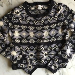 Cropped Aztec Tribal Sweater Adam Levine Gray